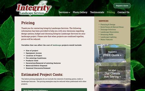 Screenshot of Pricing Page integritylandscapeservices.com - Landscaper Wisconsin, Landscape Contractor Wisconsin, Landscape Installer Wisconsin, Landscape Design WI, Lancscape Renovation W, Landscape Lighting | Integrity Landscape Services - captured Oct. 15, 2017