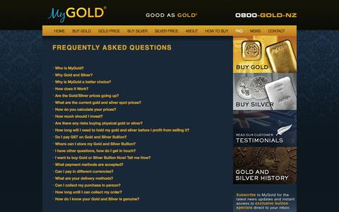 Screenshot of FAQ Page mygold.co.nz - FAQ | How to Buy Gold | Frequently Asked Questions | Gold - captured Oct. 7, 2014