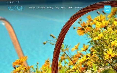 Screenshot of Home Page hotelkonaki.com - Hotel Konaki - Lefkada Island, Greece - captured Jan. 18, 2016