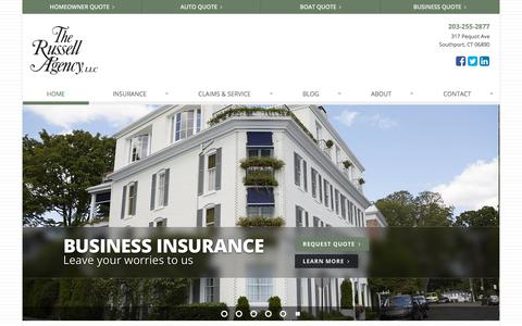 Screenshot of Home Page therussellagency.com - The Russell Agency, LLC located in Southport, Connecticut - captured Oct. 14, 2019