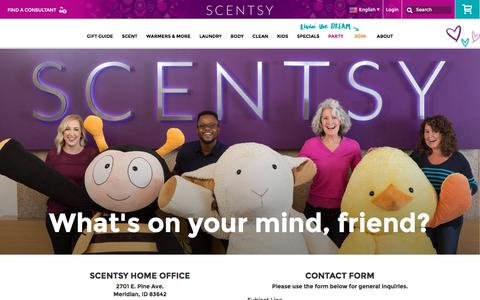 Screenshot of Contact Page scentsy.com - Contact Corporate Office & Inquiries About Scentsy   Scentsy - captured Nov. 19, 2017