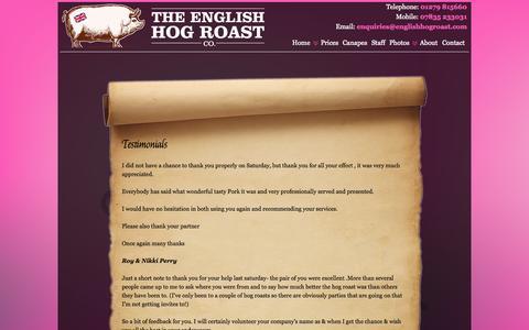 Screenshot of Testimonials Page theenglishhogroastcompany.co.uk - Testimonials | English Hog Roast Company - captured Sept. 30, 2014