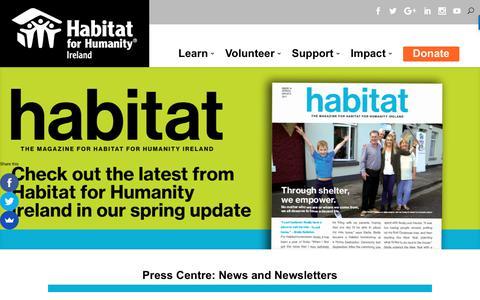 Screenshot of Press Page habitatireland.ie - Press Centre and News - Habitat for Humanity Ireland - captured July 13, 2017