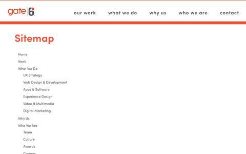 Gate6 Website Sitemap