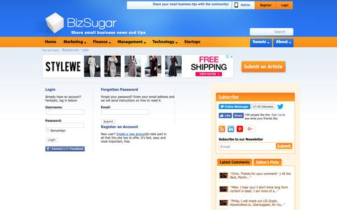Screenshot of Login Page bizsugar.com - Small business news; tips; networking   BizSugar   Login - captured Nov. 6, 2018