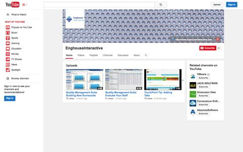 Screenshot of YouTube Page youtube.com - EnghouseInteractive  - YouTube - captured Oct. 26, 2014