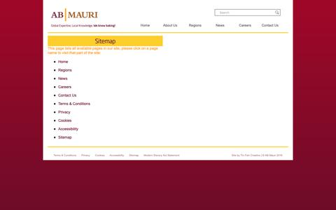 Screenshot of Site Map Page abmauri.com - AB MAURI | Global Expertise, Local Knowledge | We Know Baking! - captured Oct. 2, 2018