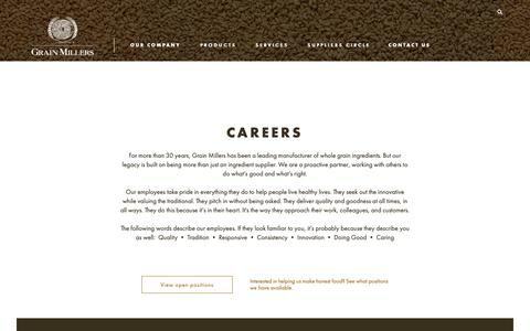 Screenshot of Jobs Page grainmillers.com - Grain Milling Jobs | Grain Millers Careers | United States & Canda - captured Sept. 30, 2018