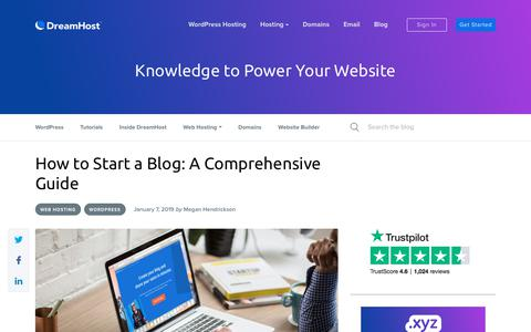 Screenshot of Blog dreamhost.com - How to Start a Blog: A Comprehensive Guide - DreamHost - captured Feb. 21, 2020
