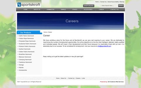Screenshot of Jobs Page sportskroft.com - Polyester Rope Hammock, Sunbrella Hammock, Quilted Hammocks. - captured Sept. 30, 2014