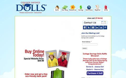Screenshot of Home Page collegesavingsdolls.com - College Savings Dolls - captured Oct. 8, 2014