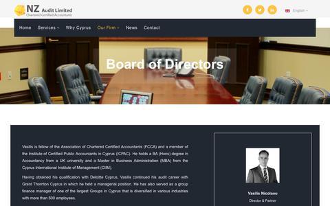 Screenshot of Team Page nzaudit.com - NZ Audit Limited | Board of Directors - captured Oct. 18, 2018