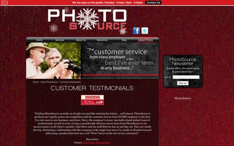 Screenshot of Testimonials Page photosource.com - PhotoSource - Customer Testimonials and Reviews - captured Jan. 28, 2016
