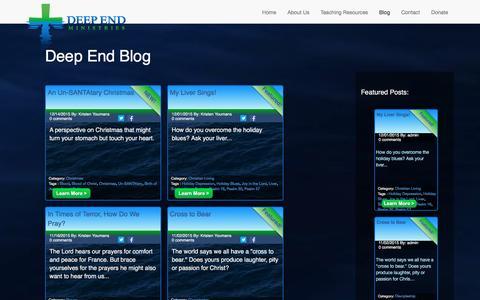 Screenshot of Blog deependministries.org - Deep End Ministries :: Blog - captured Jan. 7, 2016