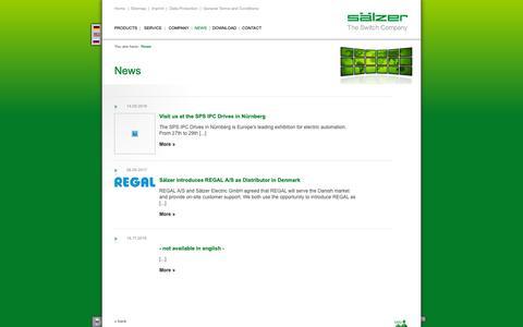 Screenshot of Press Page saelzer.com - News - Sälzer Electric GmbH - Innovation. Technology. Quality. - captured Oct. 2, 2018