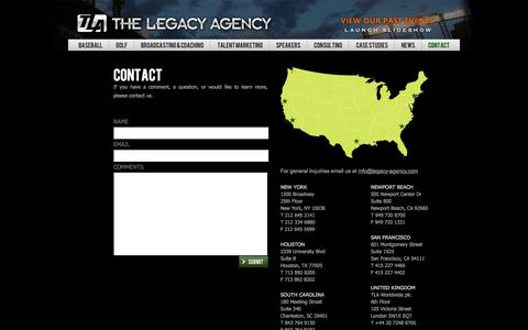 Screenshot of Contact Page legacy-agency.com - The Legacy Agency - captured Oct. 26, 2014