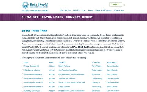 Screenshot of Signup Page bdavid.org - Sh'ma Beth David: Listen, Connect, Renew – Beth David Reform Congregation - captured Oct. 5, 2018