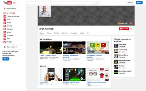 Screenshot of YouTube Page youtube.com - Alon Atsmon  - YouTube - captured Oct. 22, 2014