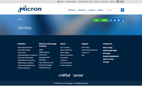 Screenshot of Site Map Page micron.com - Micron Technology, Inc. - Site Map - captured Dec. 2, 2015