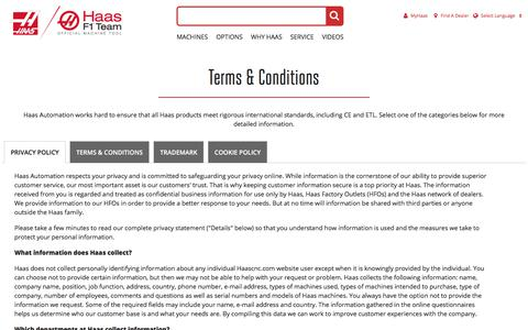 Screenshot of Privacy Page Terms Page haascnc.com - Privacy | Terms & Conditions | Cookie Policy | Trademark - captured July 19, 2019