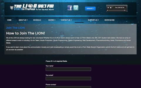 Screenshot of Signup Page thelion.fm - The LION 90.7fm Penn State Student Radio |  - Join - captured Oct. 7, 2014