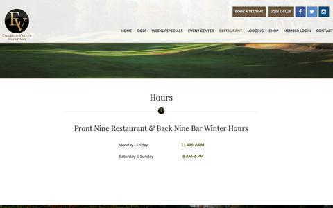 Screenshot of Hours Page emeraldvalleygolf.com - Hours - captured July 2, 2018