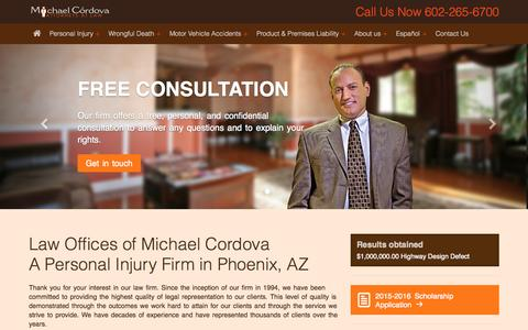 Screenshot of Home Page mcordova.com - Phoenix Personal Injury Attorney 85006 - Law Offices of Michael Cordova (602) 265-6700 - Personal Injury Attorneys in Phoenix AZ - captured Oct. 3, 2015