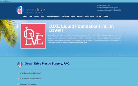 Screenshot of FAQ Page oceandriveplasticsurgery.com - FAQ| Plastic Surgery | Alan Durkin MD | Vero Beach - captured Oct. 27, 2014