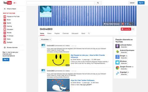 Screenshot of YouTube Page youtube.com - OnOneSEO  - YouTube - captured Oct. 26, 2014
