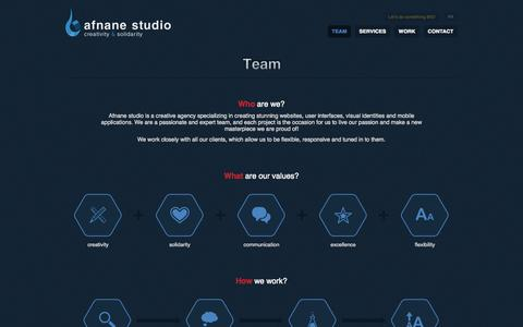Screenshot of Team Page afnane.net - Afnane studio | We are creative and we make the difference! | Creativity & Solidarity - captured Oct. 4, 2014