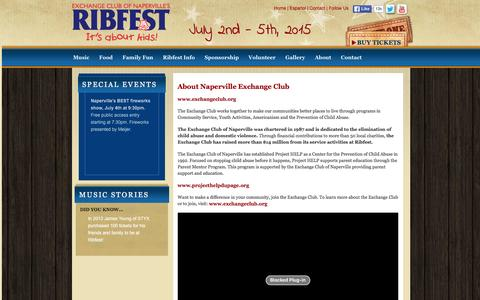 Screenshot of About Page ribfest.net - About Naperville Exchange Club - captured Jan. 19, 2016