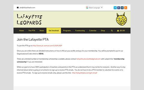 Screenshot of Signup Page lafayettepta.com - Join the Lafayette PTA – Lafayette PTA - captured July 1, 2018