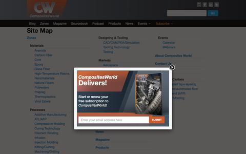 Screenshot of Site Map Page compositesworld.com - Site Map    CompositesWorld - captured Nov. 20, 2018