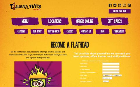 Screenshot of Signup Page tijuanaflats.com - Become A Flathead - Tijuana Flats - captured Nov. 11, 2018