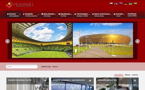 Screenshot of Home Page verano-konwektor.pl - Ogrzewanie kanałowe, grzejniki kanałowe, naścienne,  stojące i klimakonwektory - Verano konwektor - captured Sept. 24, 2014