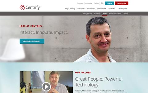 Screenshot of Jobs Page centrify.com - Careers in unified identity management at Centrify - captured Nov. 14, 2015