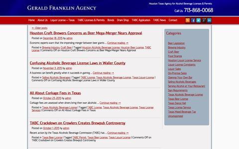 Screenshot of Blog geraldfranklinagency.com - Texas Liquor License Service | TABC Required Licenses - captured May 10, 2017
