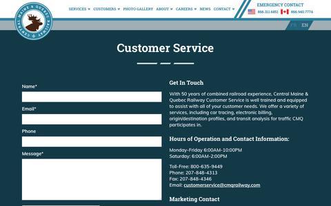 Screenshot of Support Page cmqrailway.com - Customer Service From CMQ Railway | Bangor, Maine - captured Sept. 27, 2018