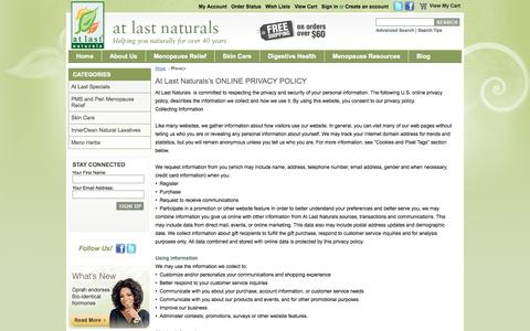 Screenshot of Privacy Page atlastnaturals.com - Privacy - captured Sept. 30, 2014