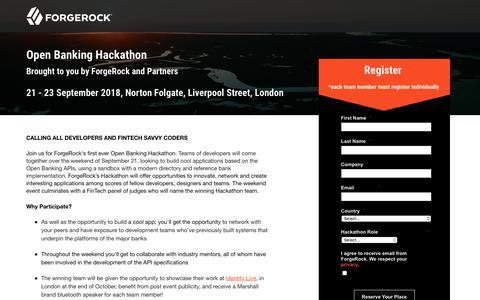Screenshot of Landing Page forgerock.com - ForgeRock Open Banking Hackathon - captured Sept. 19, 2018