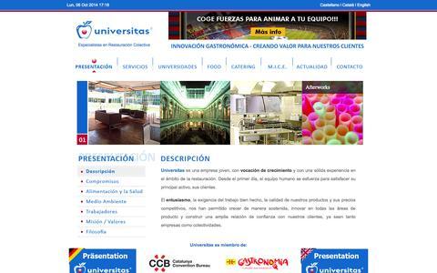 Screenshot of Home Page universitas.cat - Universitas Colectividades - Especialistas en Restauración - captured Oct. 6, 2014
