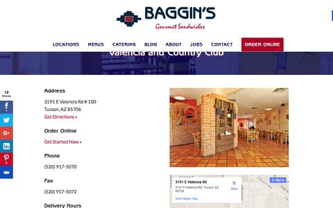 Screenshot of bagginsgourmet.com - Valencia and Country Club - Baggin's Gourmet - captured March 20, 2016