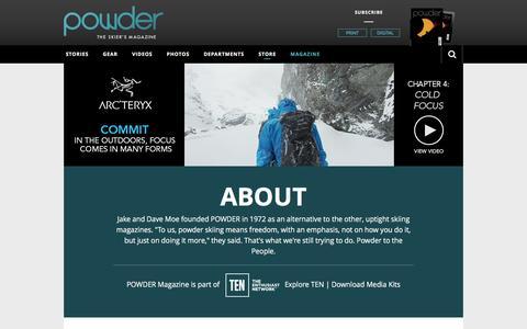 Screenshot of About Page powder.com - About Powder Magazine - captured Jan. 16, 2016