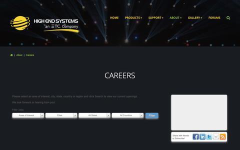 Screenshot of Jobs Page highend.com - Careers - captured Sept. 28, 2018