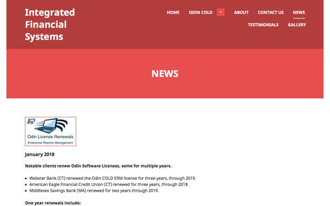 Screenshot of Press Page i-f-s.com - News | Integrated Financial Systems - captured Jan. 27, 2018