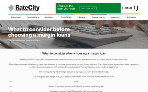 Margin Loans Guide | Margin Loans Considerations | RateCity
