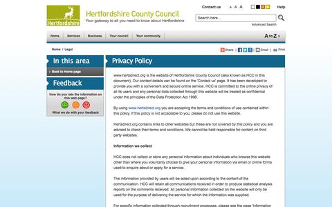 Screenshot of Terms Page hertsdirect.org - hertsdirect.org Privacy Policy - captured Sept. 22, 2014