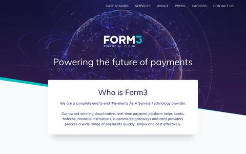 Screenshot of Home Page form3.tech - Form3 Financial Cloud - captured June 13, 2019