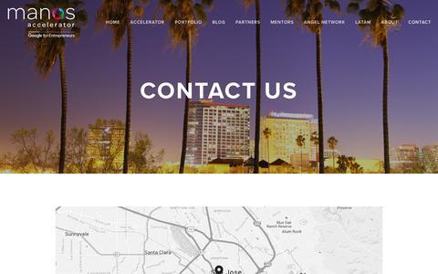 Screenshot of Contact Page manosaccelerator.com - Contact — Manos Accelerator - captured Feb. 4, 2016
