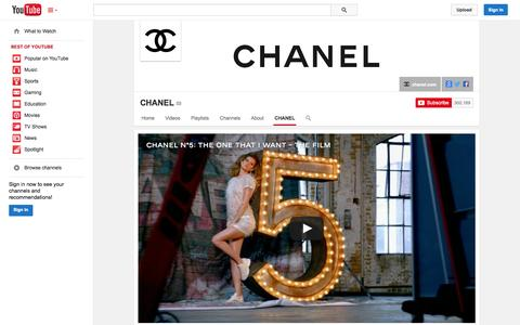 Screenshot of YouTube Page youtube.com - CHANEL  - YouTube - captured Oct. 22, 2014